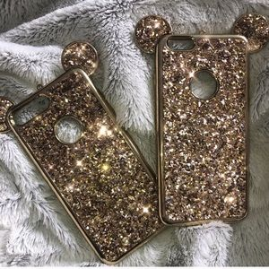 iPhone 7 Plus gold glitter Mickey Mouse case